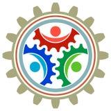 Logotipo das rodas de engrenagem ilustração do vetor