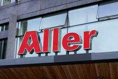 Logotipo de Aller en jefaturas El medio de Aller es el editor principal de revistas y de periódicos en la región nórdica Fotografía de archivo libre de regalías
