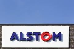 Logotipo de Alstom en una pared Fotos de archivo libres de regalías