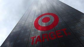 Logotipo de Alvo Corporaçõ em nuvens refletindo de uma fachada do arranha-céus Rendição 3D editorial Foto de Stock Royalty Free