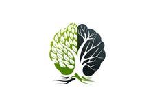 Logotipo de Alzheimer, projeto de conceito do cérebro da árvore ilustração stock