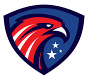 Logotipo de American Eagle en escudo stock de ilustración