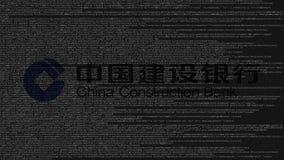 Logotipo de China Construction Bank hecho de código fuente en la pantalla de ordenador Representación editorial 3D stock de ilustración