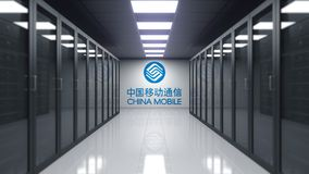 Logotipo de China Mobile en la pared del cuarto del servidor Representación editorial 3D stock de ilustración