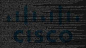 Logotipo de Cisco Systems hecho de código fuente en la pantalla de ordenador Animación loopable editorial ilustración del vector