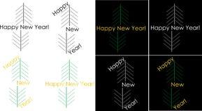 Logotipo de cumprimento do ano novo feliz de Minimalistic Fotos de Stock Royalty Free