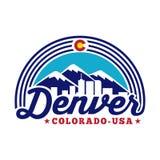 Logotipo de Denver Colorado Vector y ejemplo Diseño blanco y negro del logotipo stock de ilustración