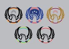 Logotipo de Eagle con las banderas stock de ilustración