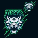 Logotipo de Esports dos tigres para o jogo e a contração muscular da mascote ilustração stock
