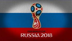 Logotipo 2018 de FIFA sobre a bandeira de Rússia foto de stock royalty free