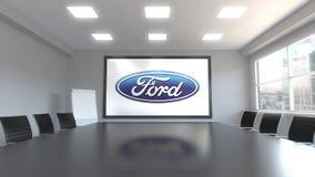 Logotipo de Ford Motor Company en la pantalla en una sala de reunión Representación editorial 3D libre illustration