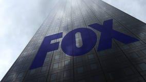 Logotipo de Fox Transmissão Empresa em nuvens refletindo de uma fachada do arranha-céus Rendição 3D editorial Foto de Stock