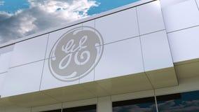 Logotipo de General Electric na fachada moderna da construção Rendição 3D editorial Fotos de Stock