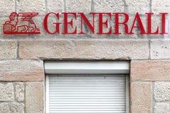 Logotipo de Generali en una pared Fotografía de archivo libre de regalías