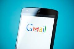 Logotipo de Gmail no nexo 5 de Google Imagens de Stock