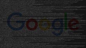 Logotipo de Google feito do código fonte no tela de computador Animação loopable editorial ilustração stock