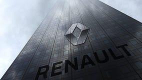 Logotipo de Groupe Renault em nuvens refletindo de uma fachada do arranha-céus Rendição 3D editorial Imagens de Stock