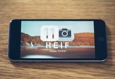 Logotipo de HEIF no iPone 7 de Apple Foto de Stock Royalty Free