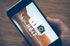Logotipo de HEIF no iPone 7 de Apple Fotografia de Stock Royalty Free