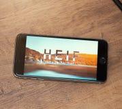 Logotipo de HEIF no iPone 7 de Apple Fotografia de Stock