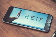 Logotipo de HEIF no iPone 7 de Apple Fotos de Stock Royalty Free