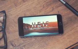 Logotipo de HEIF no iPone 7 de Apple Imagens de Stock Royalty Free
