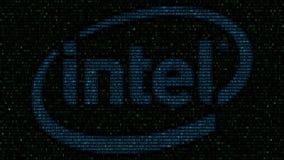 Logotipo de Intel Corporation feito de símbolos hexadecimais no tela de computador Rendição 3D editorial ilustração royalty free