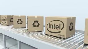 Logotipo de INTEL en las cajas m?viles en transportador de rodillo Representaci?n editorial 3D libre illustration