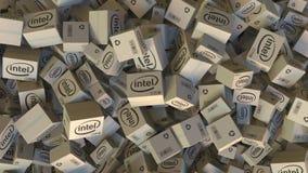 Logotipo de INTEL en los cartones llenados Representación editorial 3D ilustración del vector
