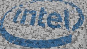 Logotipo de INTEL que es compuesto con los pedazos del rompecabezas, representación editorial 3D ilustración del vector