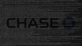 Logotipo de JPMorgan Chase Bank feito do código fonte no tela de computador Rendição 3D editorial ilustração royalty free