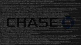Logotipo de JPMorgan Chase Bank hecho de código fuente en la pantalla de ordenador Representación editorial 3D libre illustration