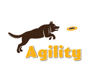 Logotipo de la agilidad del perro Silueta del perro en el fondo blanco Perro de la agilidad para su diseño Fotos de archivo libres de regalías