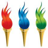 Logotipo de la antorcha del fuego stock de ilustración