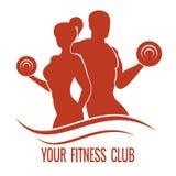 Logotipo de la aptitud con el hombre y la mujer musculosos Imagenes de archivo
