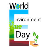Logotipo de la bandera del texto del día del ambiente mundial Foto de archivo