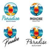 Logotipo de la barra de la playa, centros turísticos, playas ilustración del vector