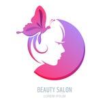 Logotipo de la belleza del vector, elementos del diseño de la etiqueta Símbolo de la cara de la mujer Imágenes de archivo libres de regalías