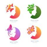 Logotipo de la belleza del vector, sistema de etiqueta Cara femenina en forma del círculo