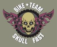 Logotipo de la bici del cráneo Imagenes de archivo