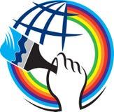 Logotipo de la brocha de la mano stock de ilustración