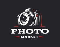 Logotipo de la cámara de la foto - ejemplo del vector Emblema de la vendimia ilustración del vector