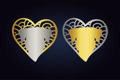 Logotipo de la cabeza de perro corazones en los colores de plata y de oro con los animales domésticos corazones exhaustos de la m ilustración del vector