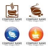 Logotipo de la cafetería con concepto de la haba y de la taza de Coffe Imagen de archivo libre de regalías