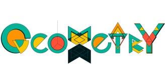 Logotipo de la camiseta del texto de la geometría ilustración del vector