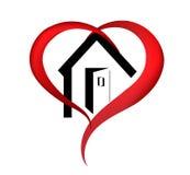 Logotipo de la casa del corazón stock de ilustración