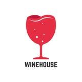 Logotipo de la casa del vino con la copa roja Fotografía de archivo