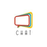 Logotipo de la charla concepto que habla, muestra de la tecnología de comunicación de la idea Foto de archivo