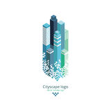 Logotipo de la ciudad ejemplo isométrico del vector 3d Ilustración del Vector