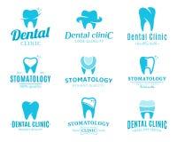 Logotipo de la clínica, iconos y elementos dentales del diseño Imagenes de archivo